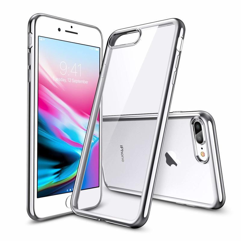 iPhone 8 Plus7 Plus Slim Clear Soft TPU Case silver frame