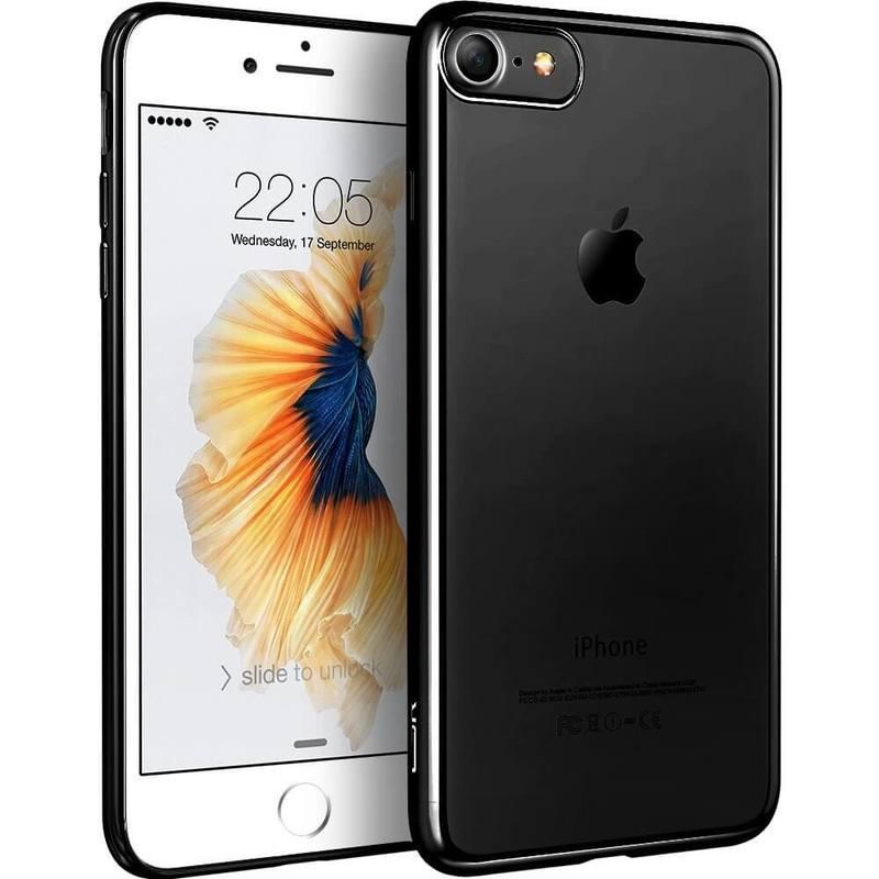 iPhone 87 Slim Clear Soft TPU Case black frame