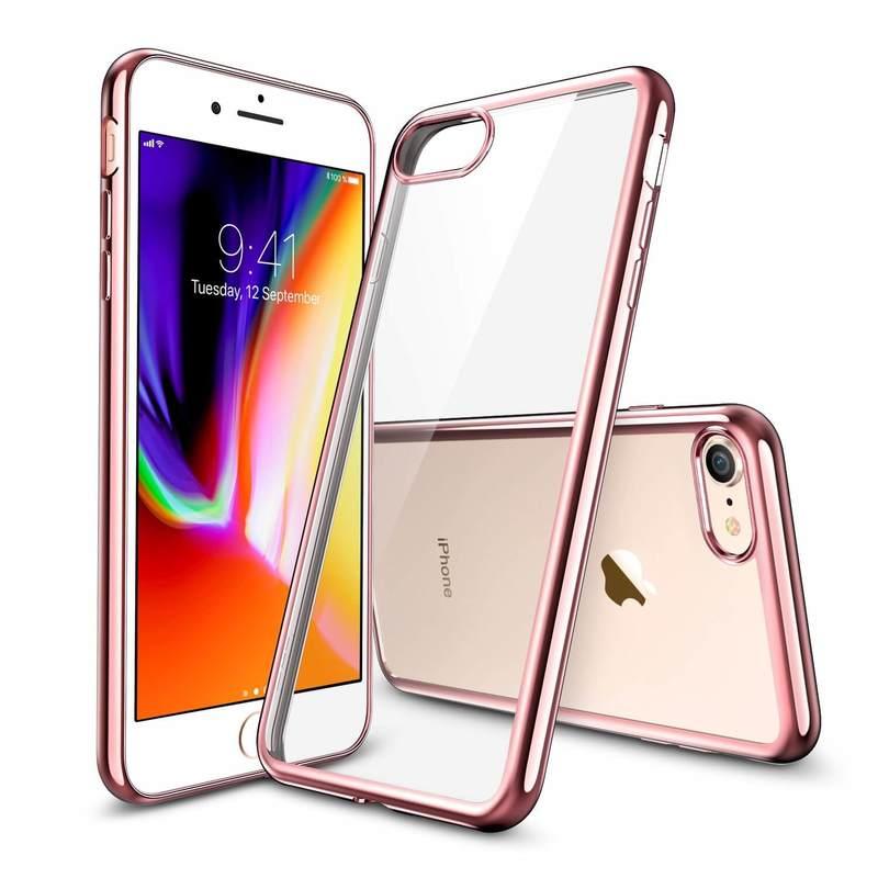 iPhone 87 Slim Clear Soft TPU Case rose gold frame