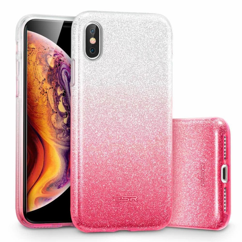iPhone XS Max Makeup Glitter Case ombre pink
