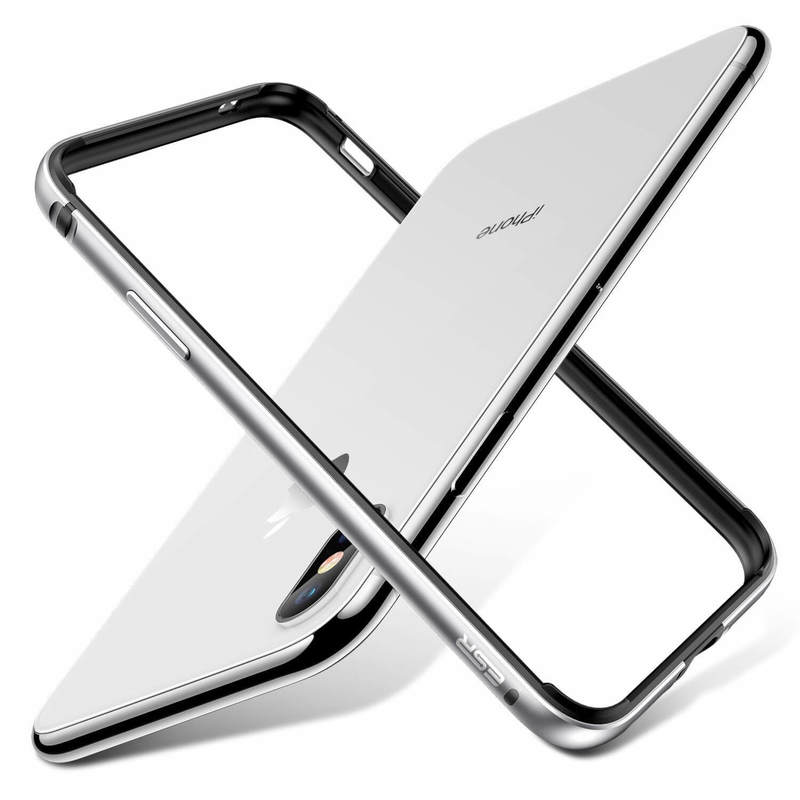iphone xs x crown metal bumper case silver