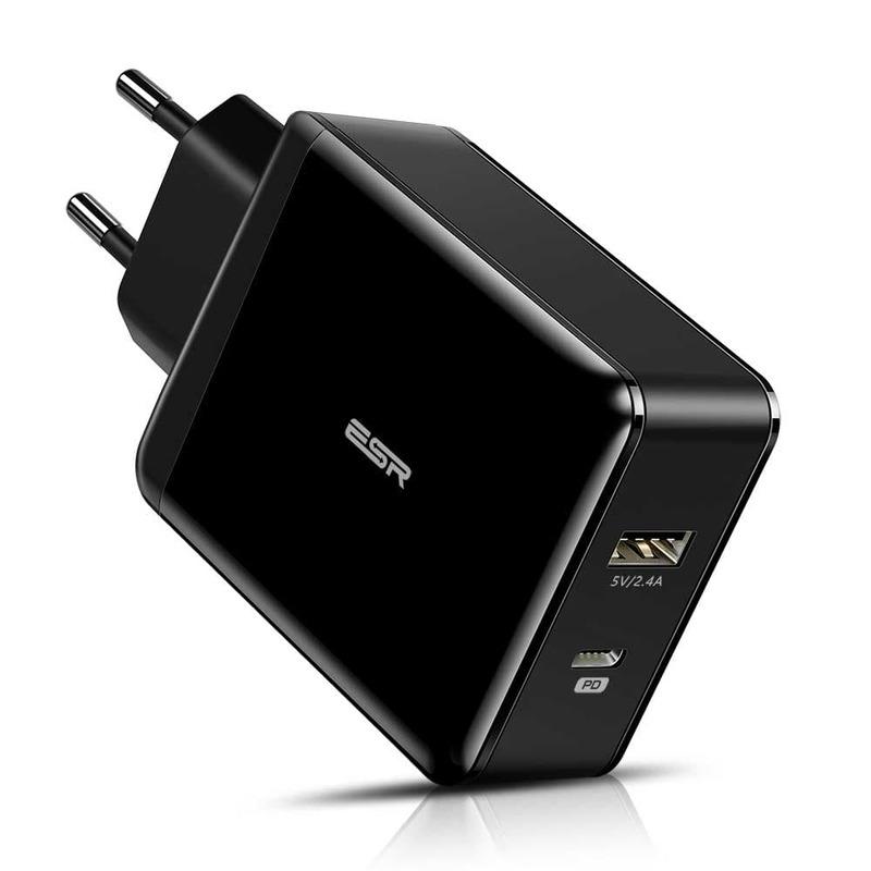 30W PD Wall Charger 1 USB C 1 USB Port EU black