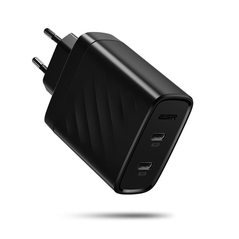 36W PD Wall Charger 2 USB C Ports EU black