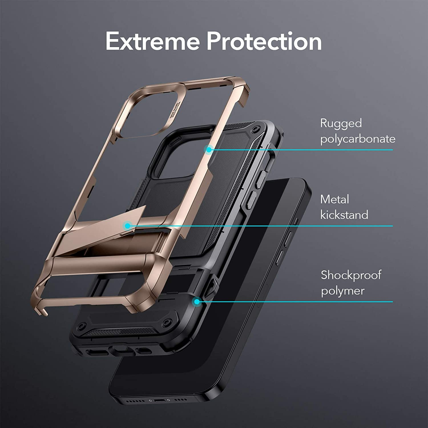 iPhone 12 Machina Tough Protective Case with Stand 1