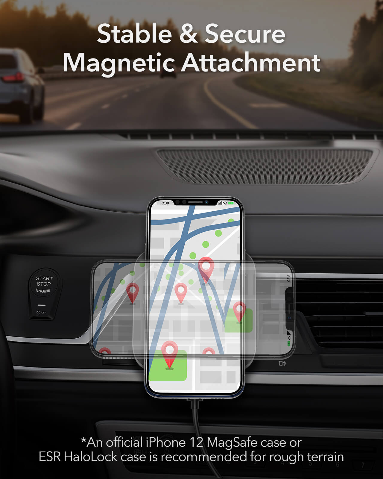 Magnetic Wireless Car Charger Mount for iPhone 12 Supports MagSafe 3