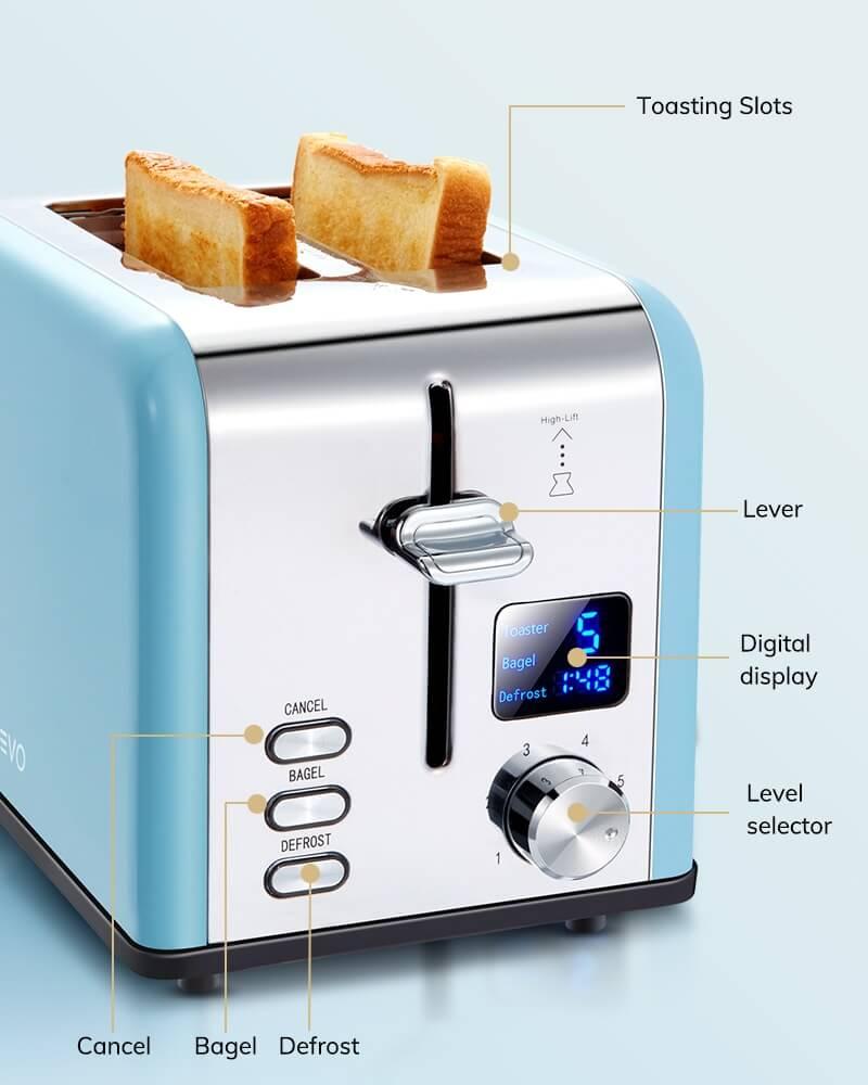 AEVO 2 Slice Retro Toaster 2